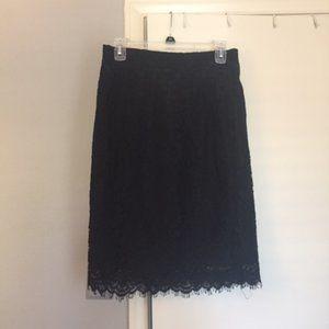 J. Crew Black lace pencil skirt, 6P